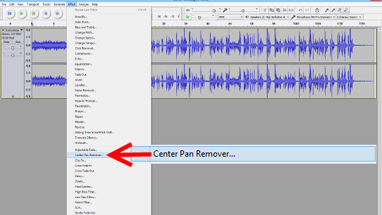 Center Pan Remover in Audacity