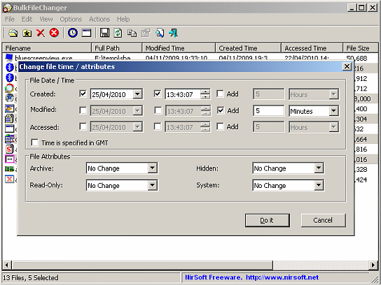 Nirsoft Bulk File Changer